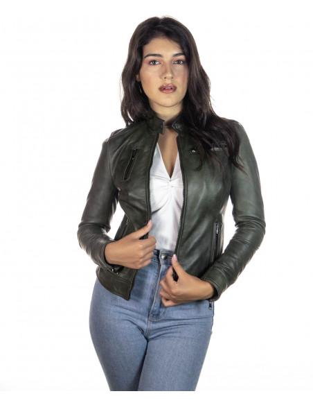Bomber Donna - Giacca in Vera Pelle colore Nero Morbida - 2
