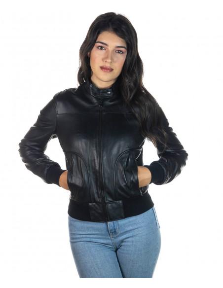 Bomber Donna - Giacca in Vera Pelle colore Nero Morbida - 3
