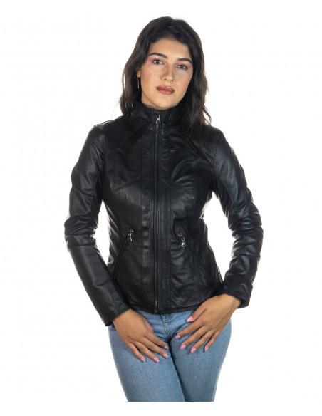 Boston - Men Down Jacket of Genuine Soft Black Leather - 10