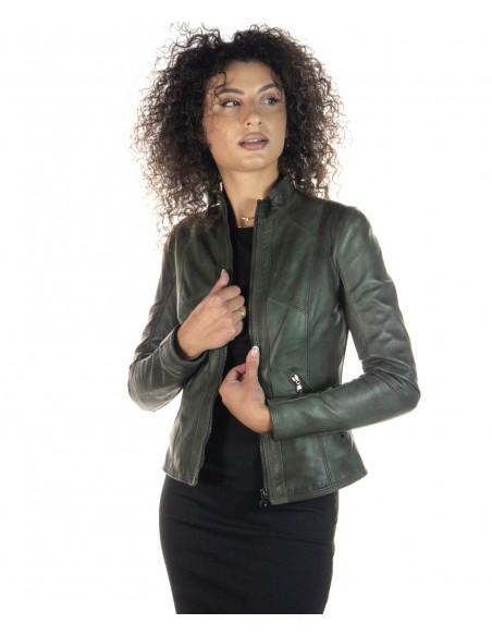 Chiodo Donna - Giacca in Vera Pelle con Cintura colore Fango Invecchiato - 6