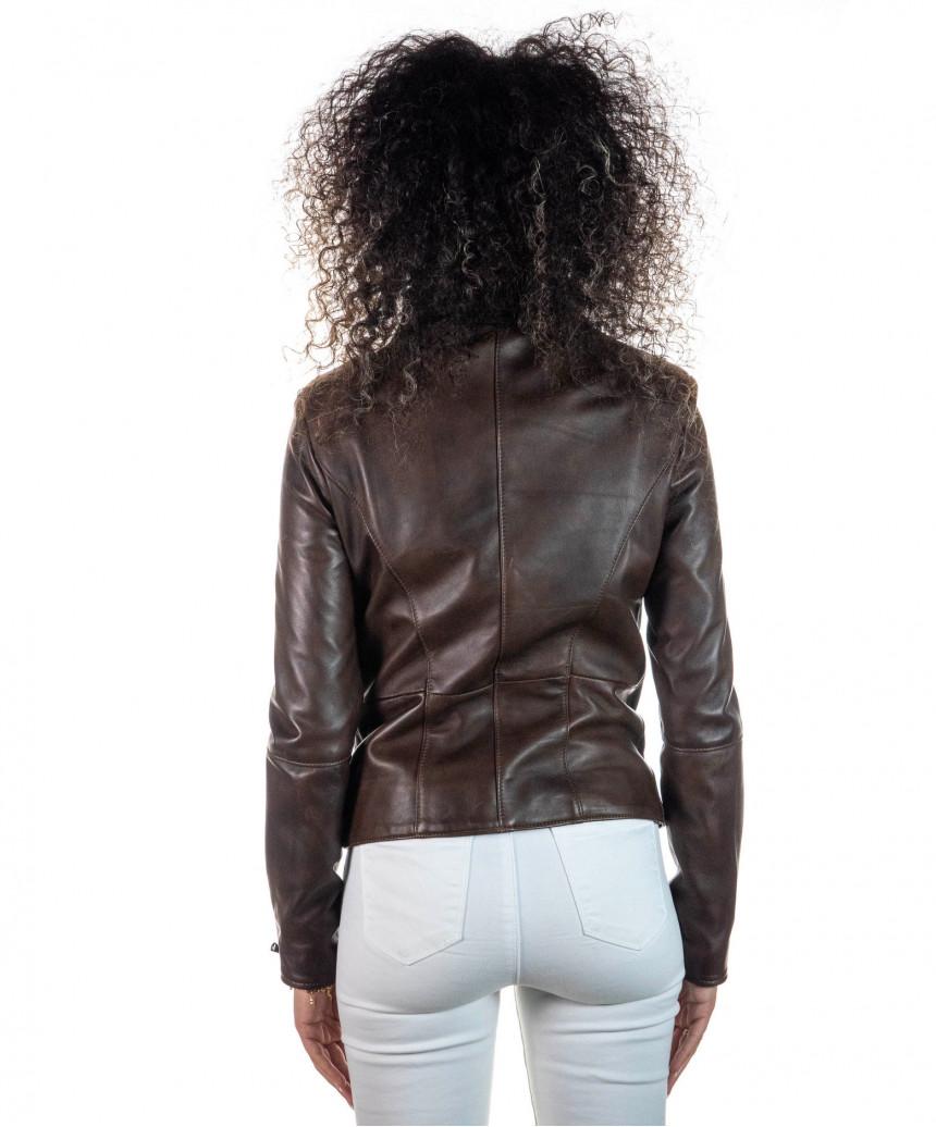 Giulia giacca donna in vera pelle colore rosso invecchiato