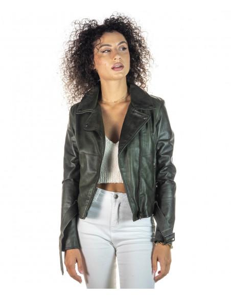 Giulia - Giacca Donna in Vera Pelle colore Verde Invecchiato - 1