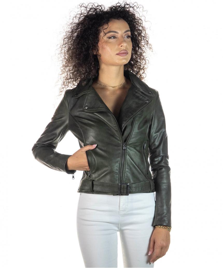 Giulia - Giacca Donna in Vera Pelle colore Verde Invecchiato - 2