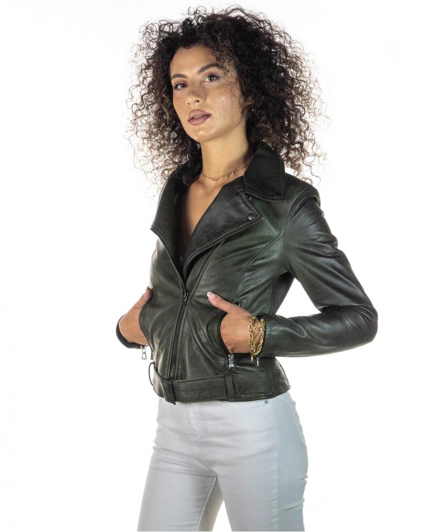 Giulia - Giacca Donna in Vera Pelle colore Verde Invecchiato - 3