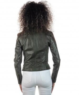 Giulia - Giacca Donna in Vera Pelle colore Verde Invecchiato - 4