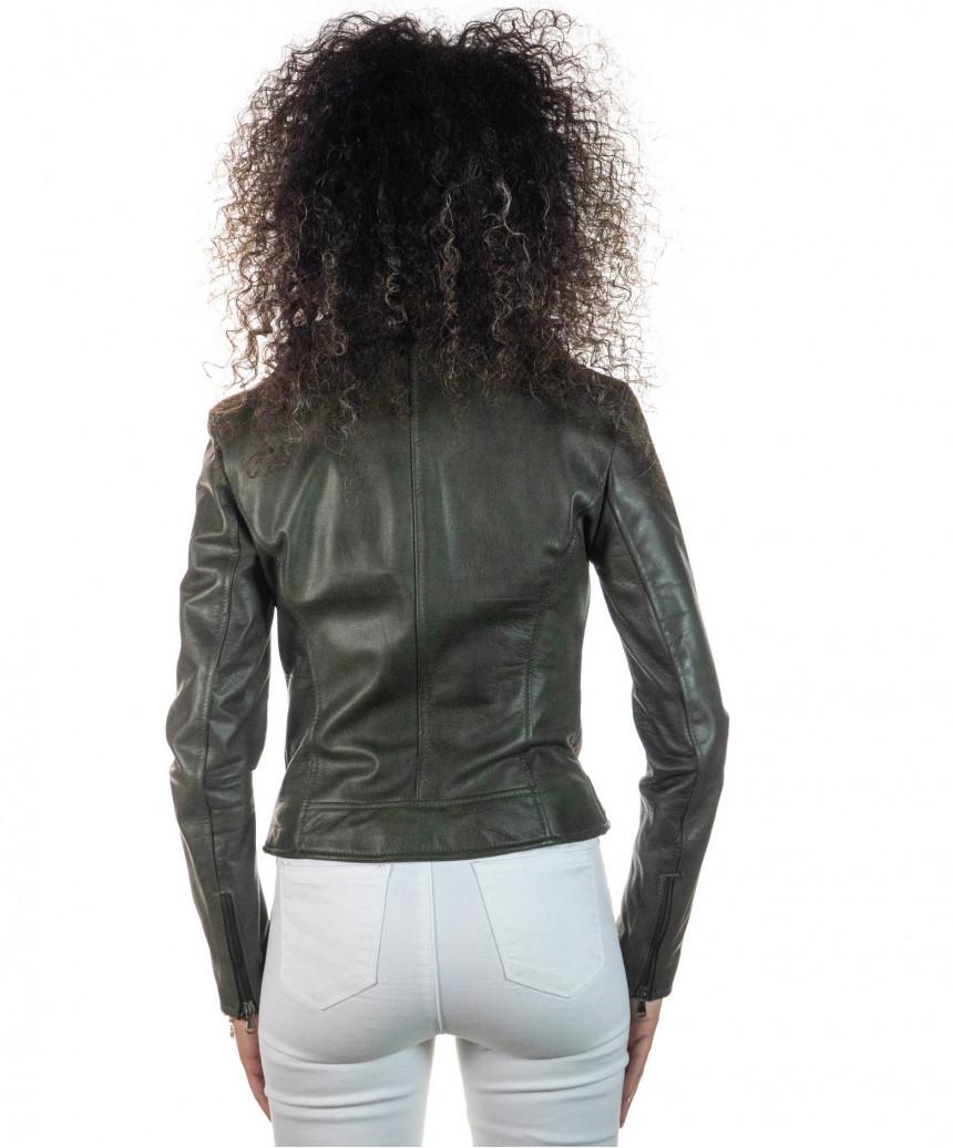 Giulia - Women Jacket in Genuine Aged Green Leather
