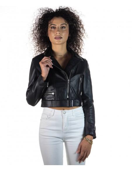 Michelina - Giacca Donna in Vera Pelle colore Fango Invecchiato - 3