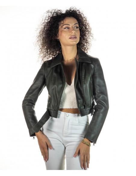 Michelina - Giacca Donna in Vera Pelle colore Fango Invecchiato - 4