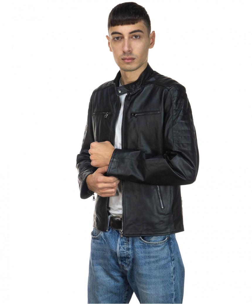 Boston - Men Down Jacket of Genuine Aged Brown Leather - 1