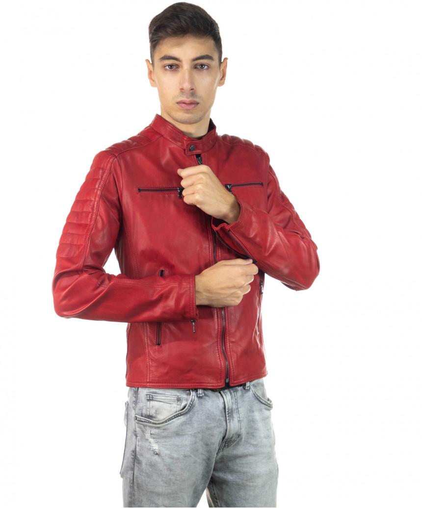 Boston - Men Down Jacket of Genuine Aged Brown Leather - 2