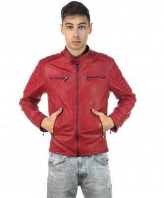 Boston - Men Down Jacket of Genuine Aged Brown Leather - 3
