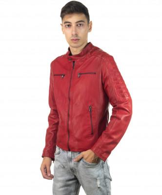 Boston - Men Down Jacket of Genuine Aged Brown Leather - 4