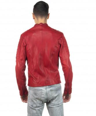 Boston - Men Down Jacket of Genuine Aged Brown Leather - 5