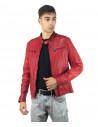 Boston - Men Down Jacket of Genuine Aged Brown Leather - 6