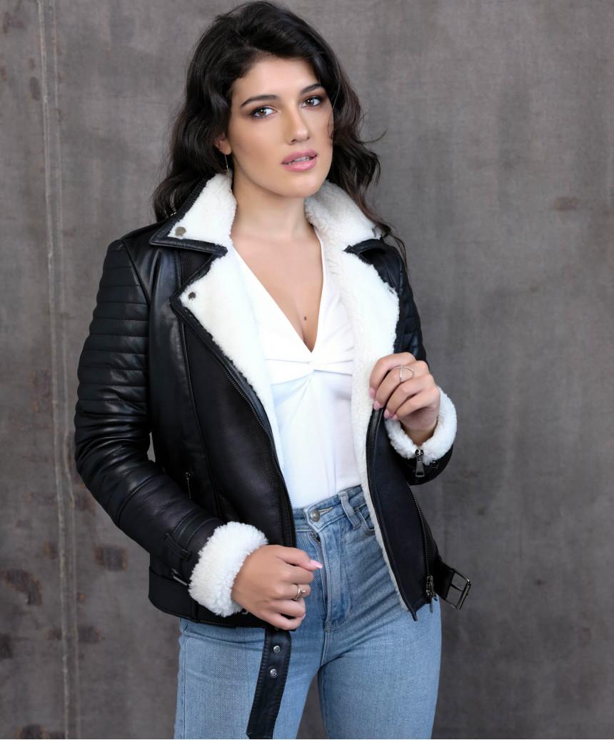 Viola - Women Genuine Aged Dark Brown Leather Jacket