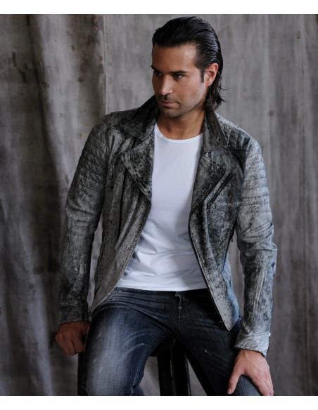 U05 - Giacca Uomo in Vera Pelle colore Rosso Invecchiato - 2