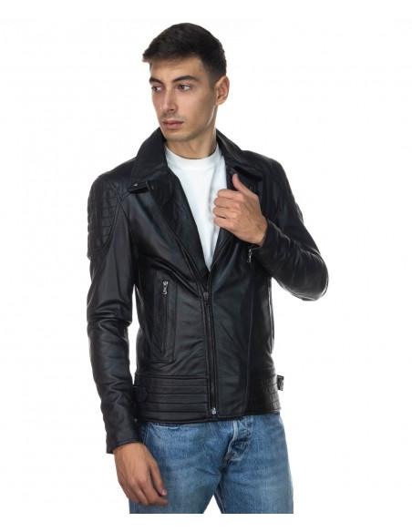 U06 - Men's Jacket of Genuine Aged Mud Leather - 1