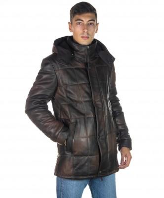 U08 - Men's Jacket of Genuine Aged Mud Leather - 7