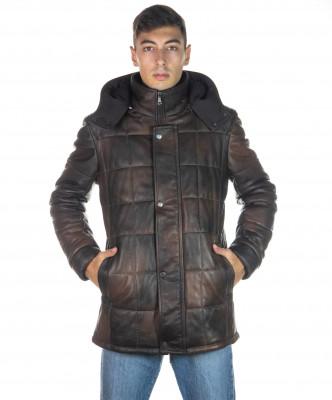 U08 - Men's Jacket of Genuine Aged Mud Leather - 8