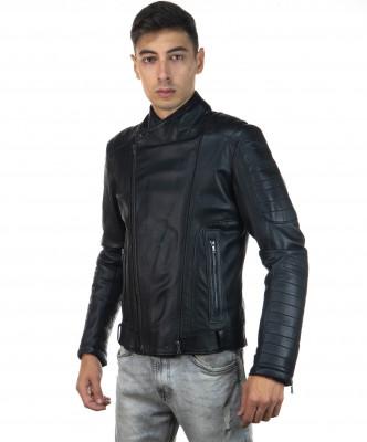 V246 - Men's Jacket of Genuine Distressed Dark Brown Leather - 1
