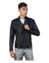 V246 - Men's Jacket of Genuine Distressed Dark Brown Leather - 3