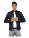 V246 - Men's Jacket of Genuine Distressed Dark Brown Leather - 4
