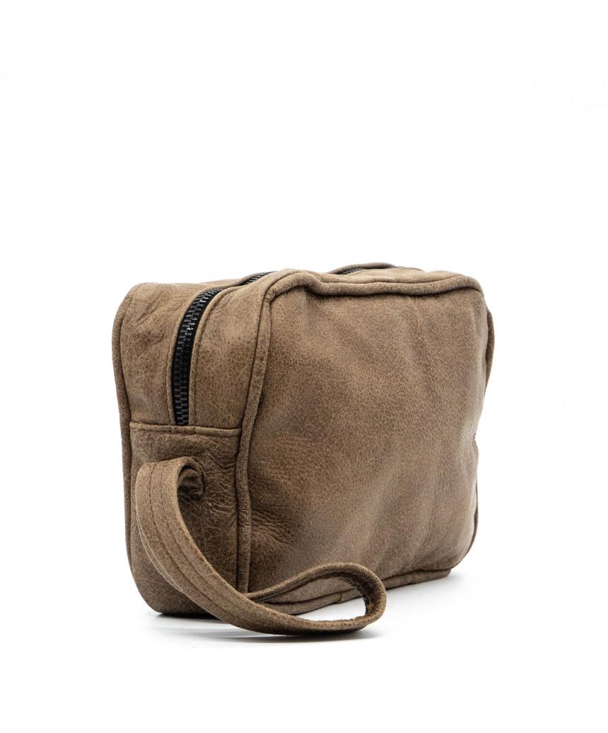 V246 - Men's Jacket of Genuine Distressed Dark Brown Leather - 5