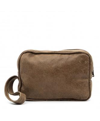V246 - Men's Jacket of Genuine Distressed Dark Brown Leather - 6