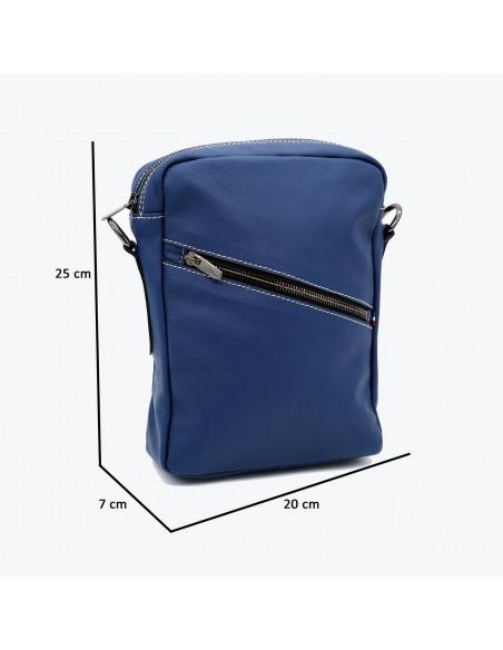 Michelina - Women Jacket of Genuine Aged Blue Leather - 3