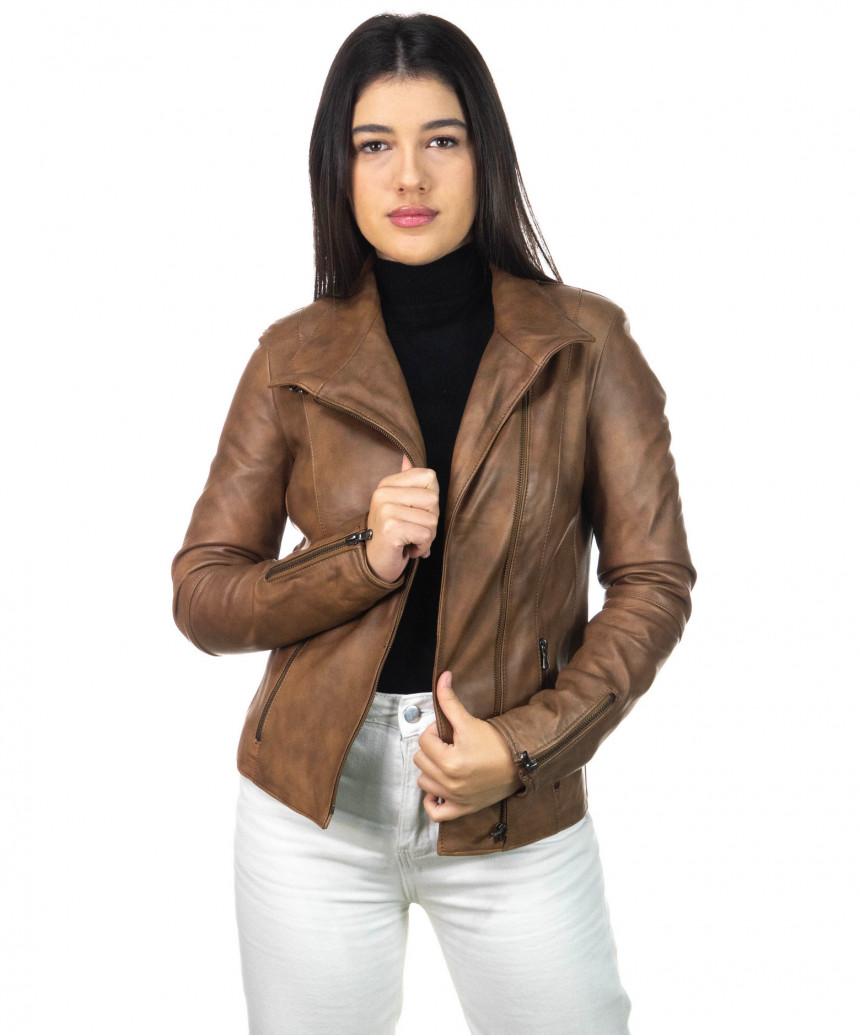 Schott - Men's Jacket in Genuine Aged Dark Brown Leather