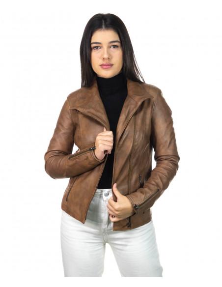 Schott - Men's Jacket of Genuine Aged Dark Brown Leather - 1