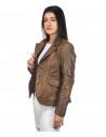 U05 - Men's Jacket of Genuine Blue Oil Vintage Leather - 3