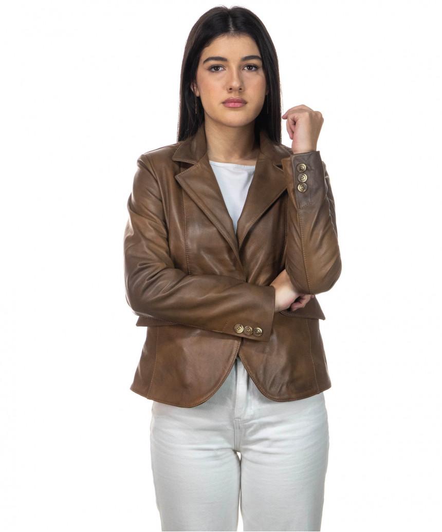 U05 - Men's Jacket of Genuine Blue Oil Vintage Leather - 5