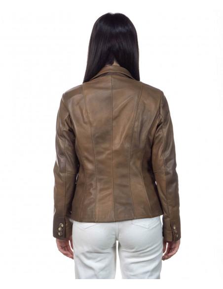 U05 - Men Jacket of Genuine Aged Bordeaux Leather - 1