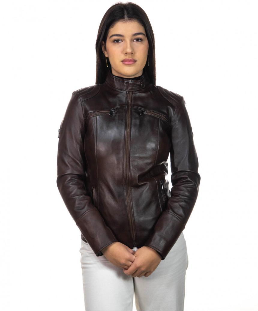 U05 - Men's Genuine Leather Jacket in Dark Brown Oil Vintage