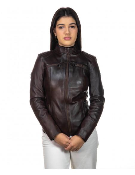 U05 - Men's Genuine Leather Jacket in Dark Brown Oil Vintage - 1
