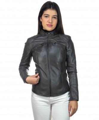 V248 - Men Jacket of Genuine Dark Brown Oil Vintage Leather - 1
