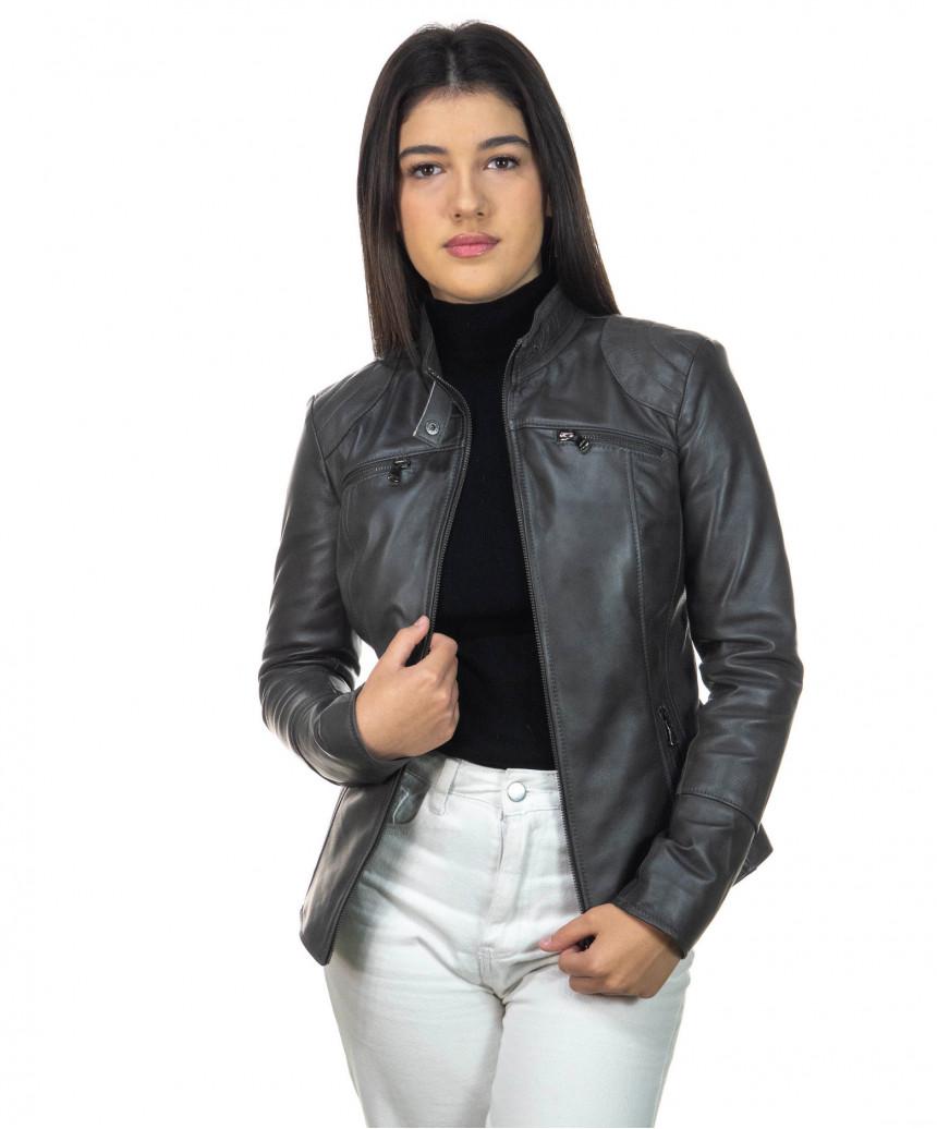 V248 - Men Jacket of Genuine Dark Brown Oil Vintage Leather - 4