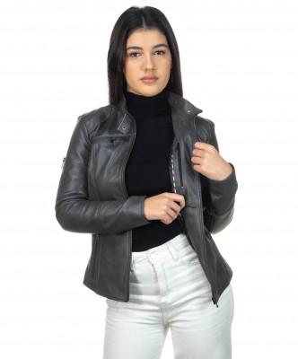 V248 - Men Jacket of Genuine Dark Brown Oil Vintage Leather - 5