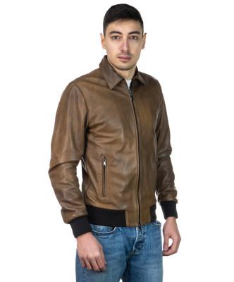 U08 - Men's Jacket of Genuine Blue Oil Vintage Leather - 5