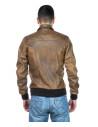 U08 - Men's Jacket of Genuine Blue Oil Vintage Leather - 6