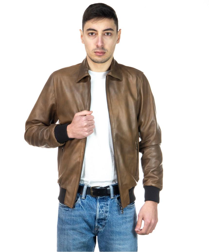 U08 - Men's Jacket of Genuine Blue Oil Vintage Leather - 7