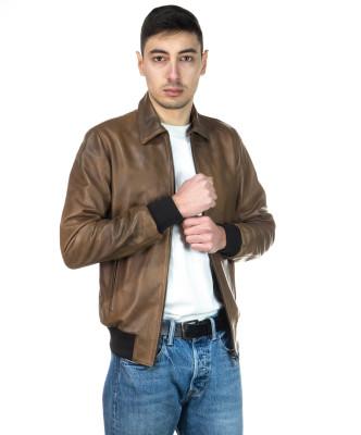 U08 - Men's Jacket of Genuine Blue Oil Vintage Leather - 8