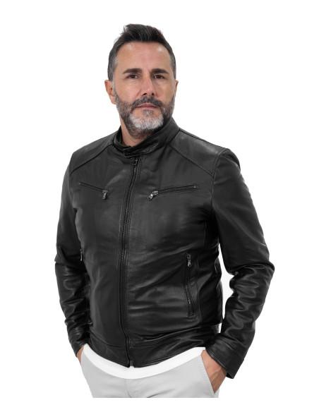 U08 - Giacca Uomo in Vera Pelle colore Cuoio Invecchiato - 5