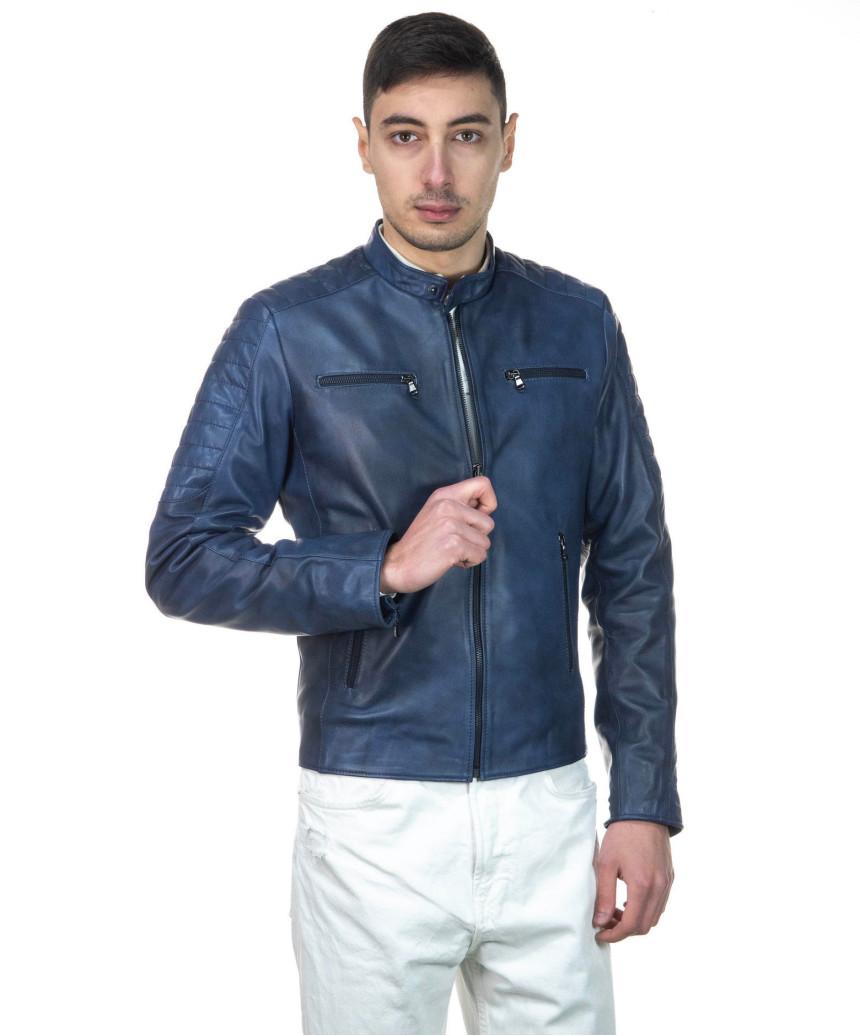 copy of Man Leather Jacket - Attila - Mud Color