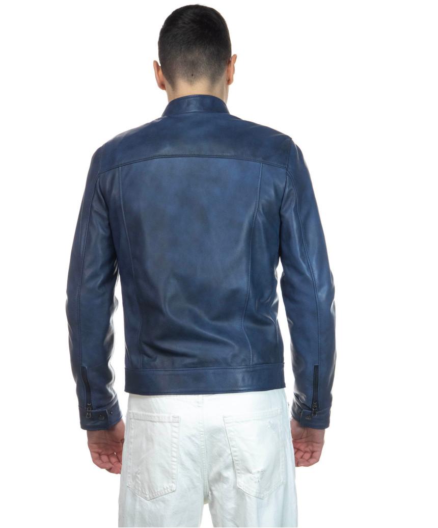 Avatar - Men's Jacket of Genuine Dark Brown Oil Vintage Leather - 1