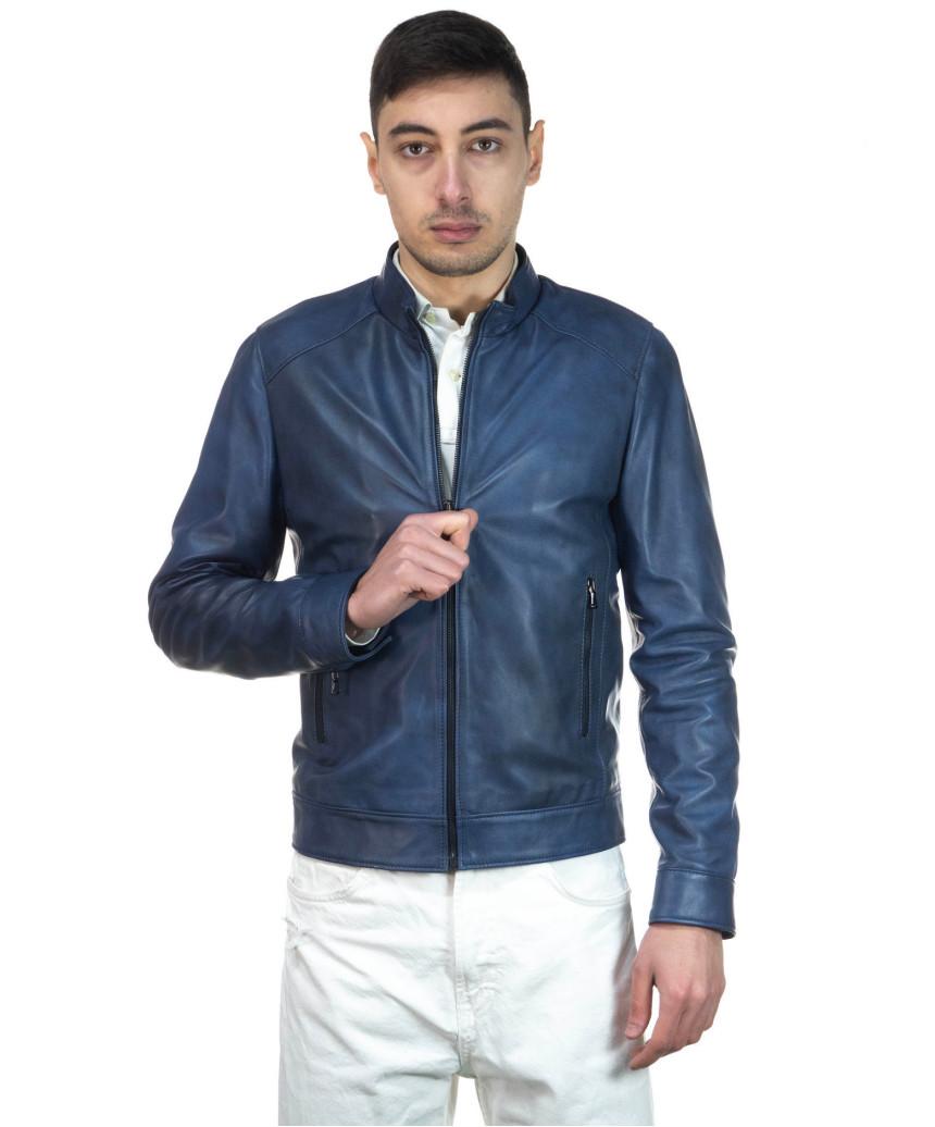 Avatar - Men's Jacket of Genuine Dark Brown Oil Vintage Leather - 2