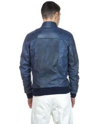 Biker Uomo - Giacca in Vera Pelle colore Nero Morbida - 2