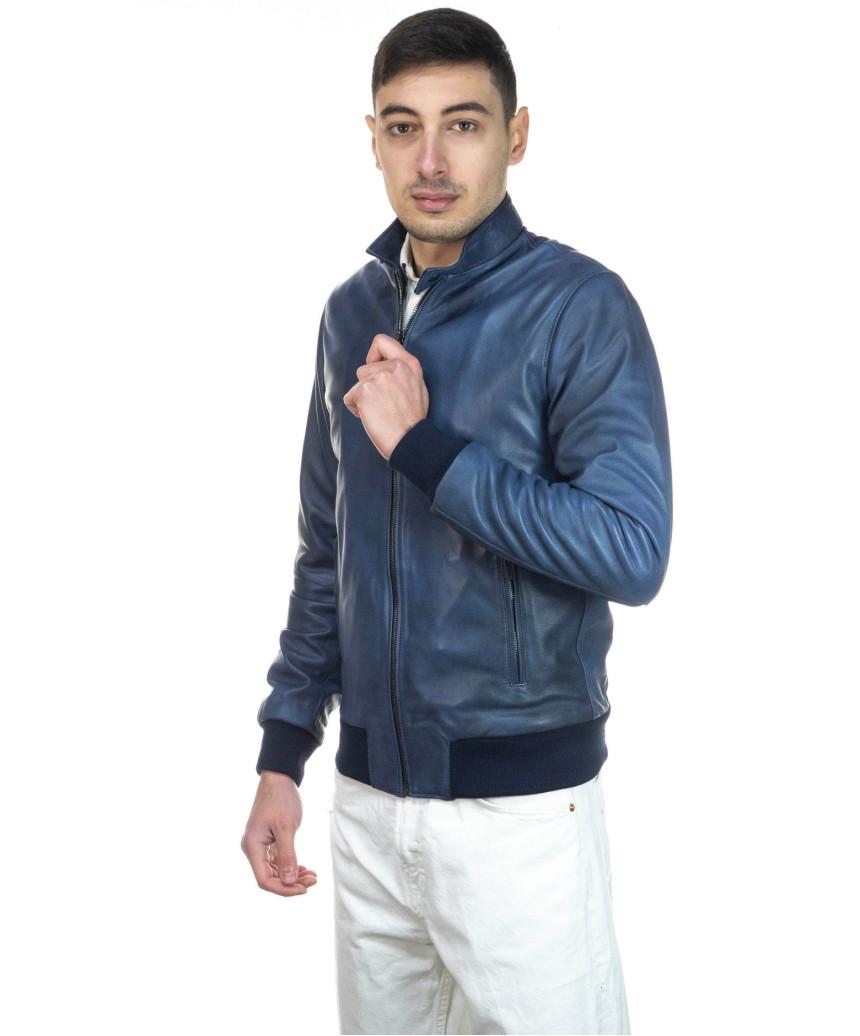 Biker Uomo - Giacca in Vera Pelle colore Nero Morbida - 3