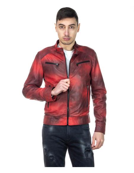 Chiodo Uomo - Men Jacket of Genuine Aged Blue Leather - 1